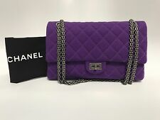 Auth Chanel 2.55 size 266 Purple Jersey Reissue Double Flap Bag - BRAND NEW!