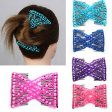 1Pc Colorful Butterfly Imitation Pearl Double Hair Comb Clip Beauty Women Gift