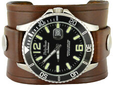 Men's Brown Leather Cuff Watch With Tapered Straps