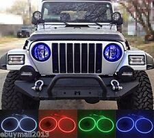 RF RGB Halo Ring Angel Eyes For Jeep Wrangler TJ Flash Demon Devil DRL Headlight