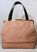 MARNI LEATHER FRAME BAG NUDE PINK BROWN HANDBAG DUAL TOP HANDLE SATCHEL
