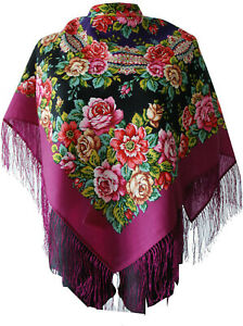 Lovely Authentic Russian Pavlovo Posad Scarf Shawl 100% Wool silk fringe 89x89cm