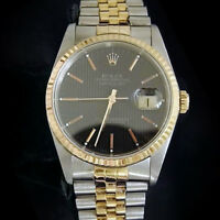 Rolex Datejust Mens 18K Gold Stainless Steel Watch Jubilee Black Tapestry 16233