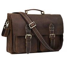 """Vintage Genuine Leather Mens 14"""" Laptop Handbag Briefcase Shoulder Messenger Bag"""