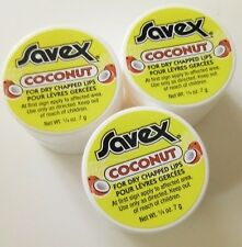 3pc Savex Lip Balm in Jar for dry & chapped lips each o.25oz / 7g - coconut