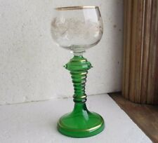 1890 ORIGINAL GERMAN ROEMER GOBLET GREEN WINE GLASS ETCHED GRAPES & LEAVES RARE!