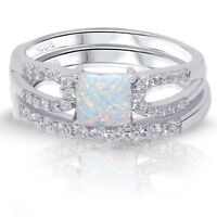 Princess Cut White Fire Opal Engagement / Wedding Sterling Silver Two Ring Set