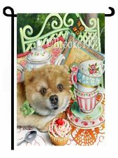 Pomeranian GARDEN FLAG Thinking Outside the Teacup Dog tea party dog ART GIFT