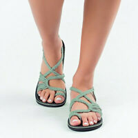 Women's Flat Sandals Non-Slip Toe Braided Rope Shoes for Summer Beach