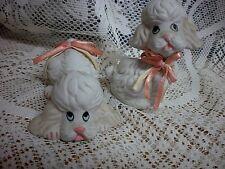 (2) Vintage 1990 TRIPPIES BISQUE Porcelain POODLE Dog Figurines
