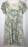 Anthropologie Moulinette Soeurs Dress Size 4 Blue Yellow Floral Short Sleeve