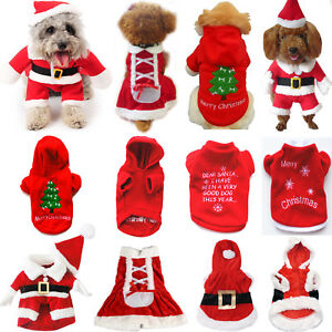 Xmas Christmas Puppy Pet Dog Clothes Hoodie Sweater Jacket Hooded Coat Costume