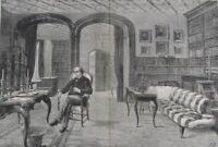 1881 Large Antique Engraving - Benjamin Disraeli in his Hughenden Manor Library