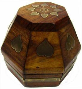 "Jewelry Box Container Brass Hearts Sheesham Wood Polygon 8 Side 3½"" x 4"" x 4"""