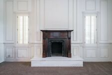 Gorgeous Victorian wooden fireplace mantle with maple inlay and iron inset
