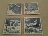 """Set of 4 Prince """"HOMESTEAD"""" ceramic wall hanging trivet style coasters - MINT"""