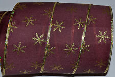 Wired Ribbon~Christmas Burgundy~Gold Sparkle Snowflake~Holiday~Wreath~Gift~Bow
