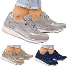 Women Lace Up Trainers Ladies Flat Comfy Fitness Gym Running Zip Up Sports Shoes