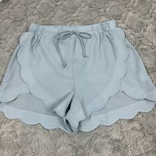 Dee Elly Side Split Scalloped Shorts Light Blue Drawstring Size Small S