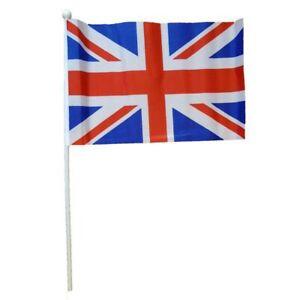 "2 x Union Jack Flag,20cm X 30cm (8"" X 12"") , Polyester Flag with Plastic Stick"
