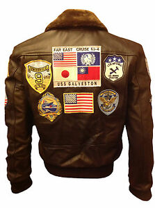 Tom Cruise Top Gun Brown A2 Jet Fighter Bomber Stylish Leather Jacket Real Fur
