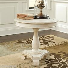 New Ashley Modern Style Furniture Round Accent Table Cottage Antique White Finsh