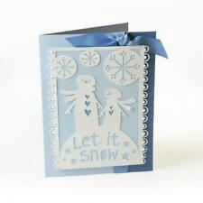 SIZZIX THINLITS LET IT SNOW CHRISTMAS CARD FRONT DIE CUTTING SET 659921 NEW