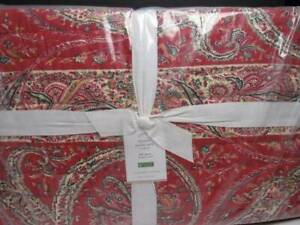 Pottery Barn Sweeney Paisley Print Cotton Full Queen Quilt/Paisley Red-Multi New
