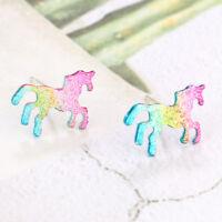 Cute Rainbow Unicorn Earrings Glitter Colorful Horse Ear Stud Kids Girls Jewelry