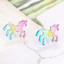 Cute Rainbow Unicorn Earrings Glitter Colorful Horse Ear Stud Kids Girls Gifts