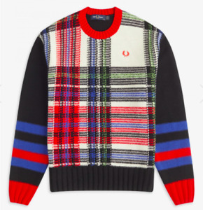 New Womens Fred Perry Reverse Tartan Jumper Sweater Top Sz UK 12 Multi (S1)