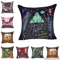 HARRY POTTER Letter Sofa Pillow Case Back Cushion Cover Cotton Linen Home Decor
