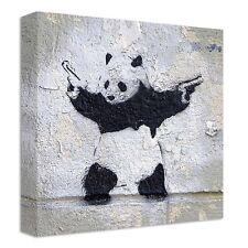 Banksy Panda With Guns Canvas   LARGE WALL ART   graffiti stencil street