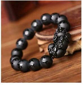 10mm Natural Black Obsidian Pi Xiu Six Word Round Beads Gemstone Bracelet AAAA
