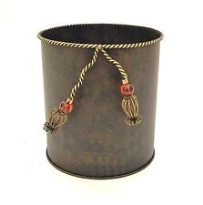 """Tin Waste Basket With Iron Tassel and Rope Design-10""""W x 10.5""""H"""