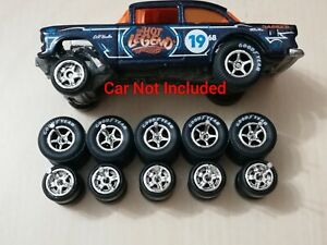 HOT WHEELS 5 SPOKE RUBBER WHEELS TIRES 5 SETS 1/64 SIZE CHEVY GASSER New Match