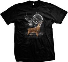 Deer Buck Moon Silhouette Wilderness Spirit Animal Nature Mens T-shirt