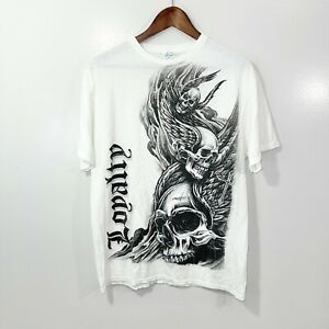VINTAGE 2000s Y2K Goth Emo Skull White T-Shirt Adult Size Large L