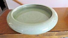 """Older Celedon marked Large 14 1/2"""" Low Centerpiece Bowl- Green Crackle Pattern"""