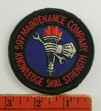 Vintage 597 Maintenance Company Knowledge Skill Strength Workers Round Patch