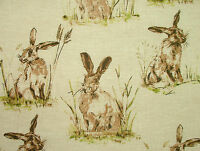 """4 Metres """"Hares"""" Natural Linen Look Curtain Upholstery Designer Wildlife Fabric"""