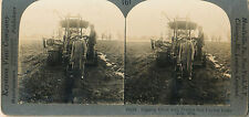 c1900 SV Tile, Wisconsin Farmer, Tractor, Draining Field Stereoview