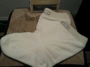Michael Kors Ribbed Fleece Knit  Short Boot Socks Ivory Size L/XL 9-11
