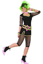 Ladies 80s Costume Neon Top Trousers & Belt 1980s Fancy Dress Outfit New 8-10
