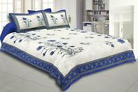 Flowral Print Cotton Double Bedsheet with 2 Pillow Cover Set 120TC King Size