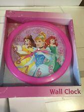 "DISNEY PRINCESS 10"" WALL CLOCK PINK HANGING DECOR KIDS CINDERELLA ARIEL BELLE"