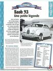 Saab 93 Berline 3 Cyl. 1956 Suede Sweden Car Auto Retro FICHE FRANCE