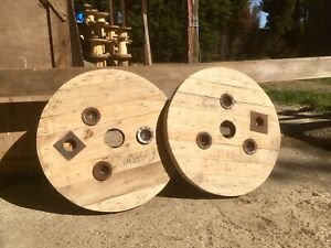 2x Sanded/Upcycled Wooden Timber  Cable Drum/reel/Spool Tops
