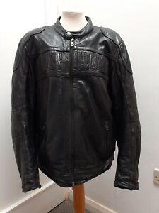 Harley Davidson Large Black Leather Bomber Jacket