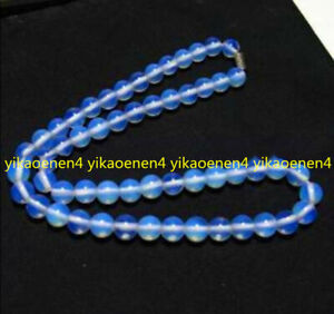 "New 10mm Sri Lanka White Moonstone Round Gemstone Beads Necklace 20"" AAA"